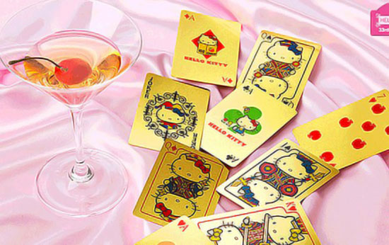 Hello Kitty gold playing cards